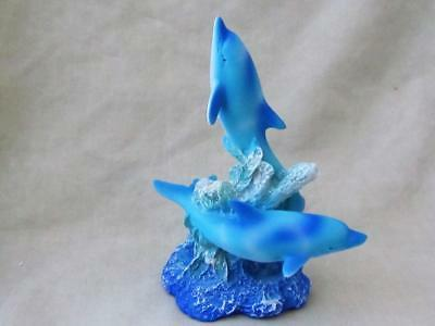 BEAUTIFUL BLUE DOLPHIN FRIENDS CORRAL SCULPTURE RESIN Realistic FREE SHIPPING