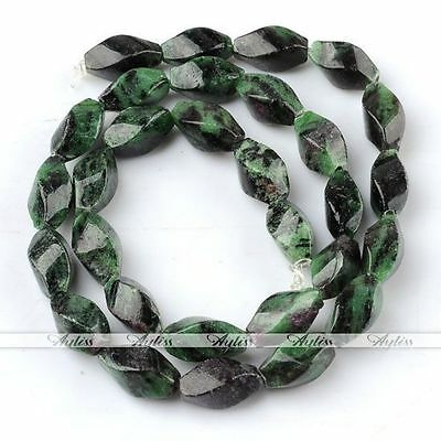 "1 Strand 7*7*13mm Rhombic Green Gemstone Gemstone Loose Beads Jewelry DIY 15.5""L"