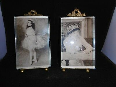"""Pair of antique French bevelled glass & ormolu picture frames c1860 8"""""""