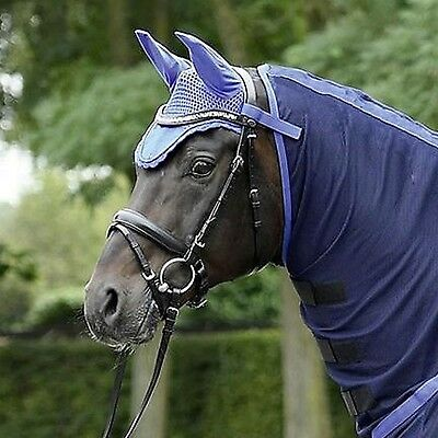 Busse Cotton Jersey Fly Veil Ear Bonnet, Match Moskito Ride-on Fly Exercise Rugs