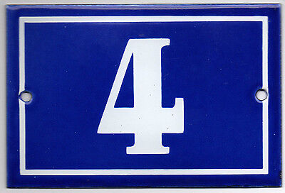 Old blue French house number 4 door gate plate plaque enamel metal sign steel