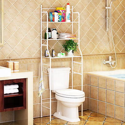 3 Tier White Over Toilet Bathroom Storage Rack Shelf Organizer Space Saver