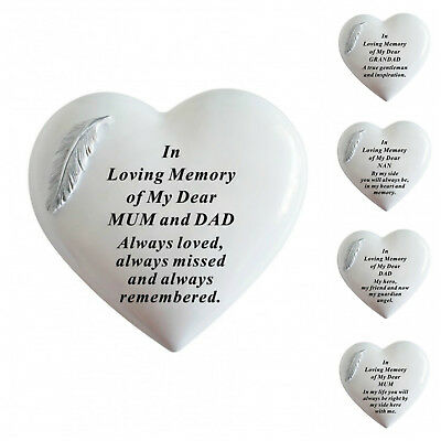 White & Silver Angel Feather Memorial Heart Tribute, Grave Remembrance Ornament