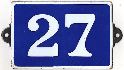 Old blue French house number 27 door gate plate plaque enamel steel metal sign