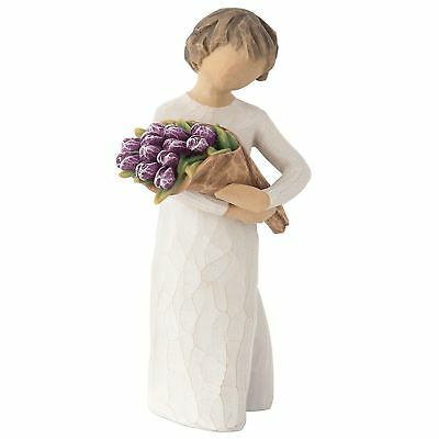 Willow Tree Surprise Resin Figurine Purple Tulips Family Keepsake Ornament Gift