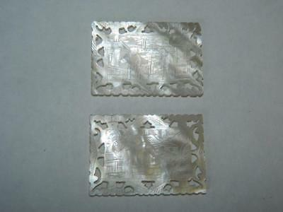 2 Antique Chinese Cantonese Fretted Pierced Rectangular Mother Of Pearl Chips