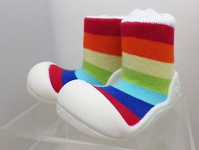 NEW Attipas First Walkers Baby Toddler Shoes EU 19 / 108mm w/Rainbow Sock Uppers