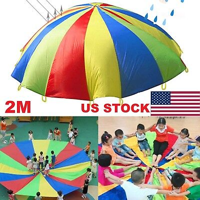 US 2m Outdoor Game Exercise Sport Toys 8 Handles Kids Play Rainbow Parachute KUS