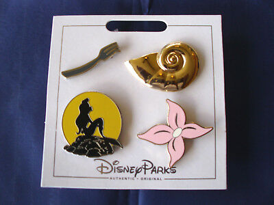 * ARIEL / MERMAID * 2017 Disney Parks 4 Pin Themed Set on Card Trading Pins
