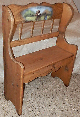 """VTG Small 30"""" h WOOD Doll or Bear BENCH w/ Mail Pouch Barn Painting Hand Crafted"""