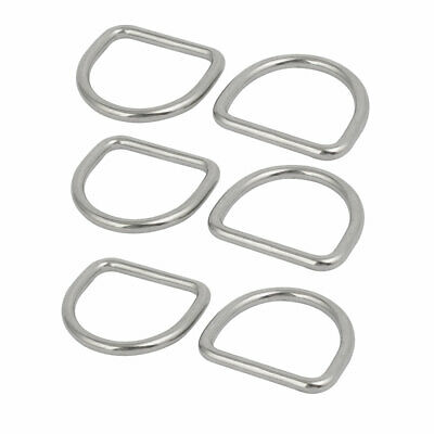 4mmx30mmx27mm 304 Stainless Steel Flat Typed D Welded Ring Silver Tone 6pcs