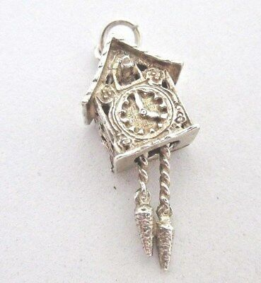 VINTAGE 925 STERLING SILVER CHARM DETAILED CUCKOO CLOCK WEIGHTS MOVE 3.6 g