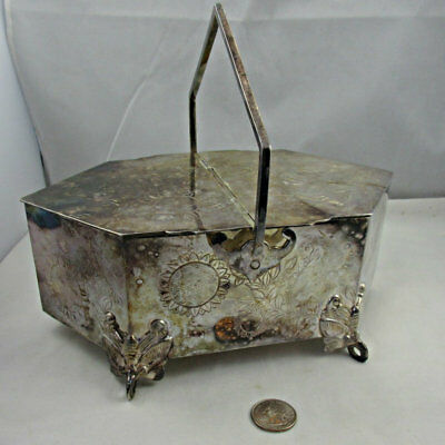 Antique Wilson and Davis Late 1800s Flower and Butterfly Pattern Silver Plated B