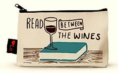New  Read Between The Wines Corkscrew Pouch Makeup Case Made in USA Natrl Cotton