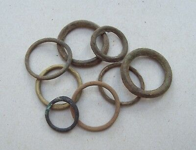 Lot of 8 Medieval Bronze Rings  Metal Detecting Finds