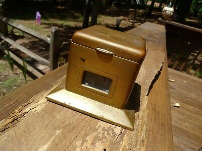 Rare Antique Cross Co Of London Solid Brass Or Copper Heavy Inkwell Box Scarce