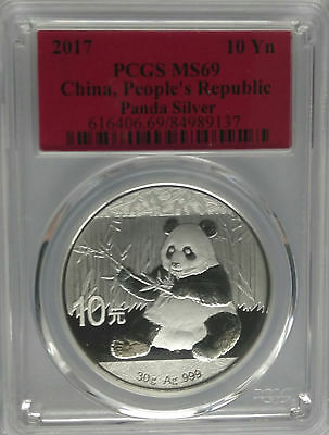 PCGS 2017 China PANDA 10¥ Yuan Coin MS69 PRC Mint Silver 30g Ag RED Label BU Unc