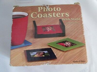 Set of 4 - Vintage Glass Photo Coasters with  Wood Case Original Box, Never Used