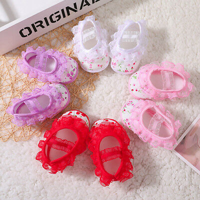 Newborn Infant Baby Girl Princess Non-Slip Lace Flower Baby Shoes Soft Sneaker L