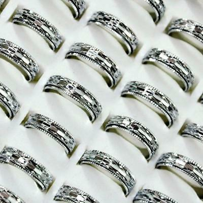 20pcs Mixed Style Double Layer Silver Alloy Rings Feminine Wholesale Jewelry CFP