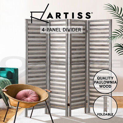 Artiss 4 Panel Room Divider Screen Privacy Wood Foldable Timber Stand Grey 170cm