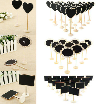 10-20x Wooden Base Chalkboard Wedding Favors Table Memo Number Name Message Sign
