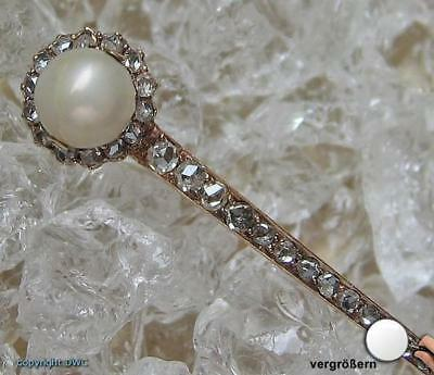 Diamantnadel Gold Nadel 18Kt 750 Gold Diamanten Brillanten Diamant Rosen Perle