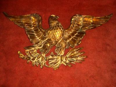 "LARGE Gold Color Eagle 38"" Wingspan -Wall/Fire Place-Hanging - Heavy & Beautiful"