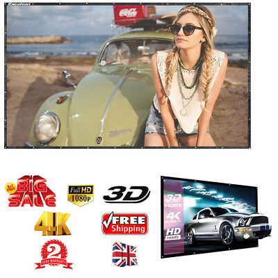 60'' Portable Foldable Projector Screen 16:9 HD Home Theater Outdoor 3D Movies