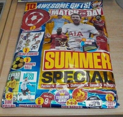 Match of the Day magazine Summer Special 2018 + Frisby, Stickers, Bouncy Ball &