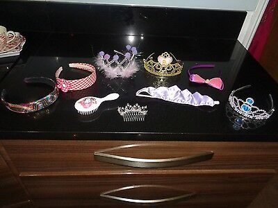 Hair Assessories 4 Girls Tiaras, 3 Girls Headbands, Hello Kitty Brush Hair Clip