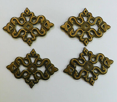 4 Vintage Brass Ornate Scrolled Cabinet Pulls Gothic Backplate Back Plate Lot