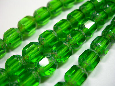 25  8mm Czech Glass Faceted Tube Beads  Emerald Green Picasso
