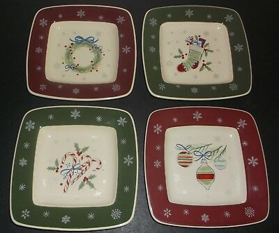 Longaberger 2008 Occasional Pottery - Set of 4 All the Trimmings Dessert Plates