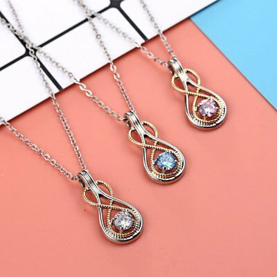 Fashion Women Infinity Crystal Necklace Pendant Crystal Sweater Chain Jewelry