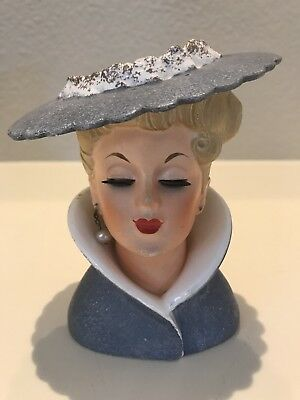 Lovely Vintage Napco Lady Head Vase Powder Blue Grey Headvase