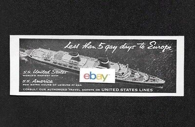 United States Lines Ss United States & Ss America 5 Gay Days To Europe Ad