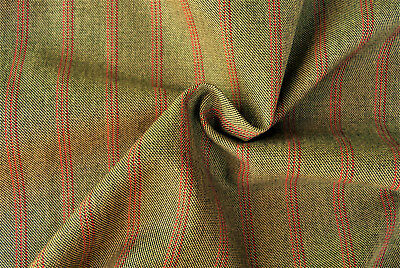 Biege With Fine Burgundy Pin Stripe Wool Blend Worsted Fabric Made In Italy A33