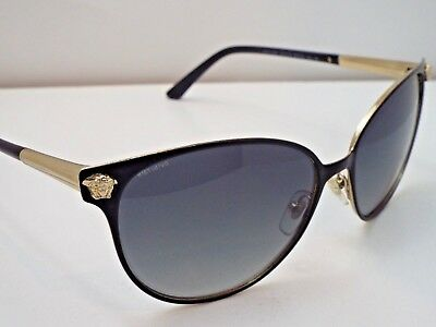 2e97f08b33d AUTHENTIC VERSACE 2168 1377 T3 Matte Black Gold Grey Polarized Sunglasses   360 -  37.41