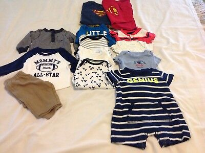 Lot of newborn boy clothing...7 bodysuits 2 shirts 1 long pants 2outfits