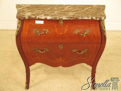 41645E: Marquetry Inlaid Bombe  Base Marble Top Commode Chest