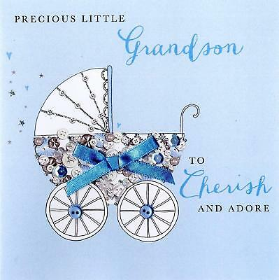 new born baby boy grandson buttoned up greeting card embellished cards
