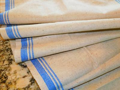 "2 Yards Vintage STRIPED LINEN KITCHEN TOWEL TOWELING FABRIC Oatmeal w Blue 17"" w"