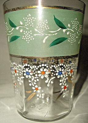 One Clear Optic Victorian Hand Painted & Enameled Tumbler Excellent Cond!