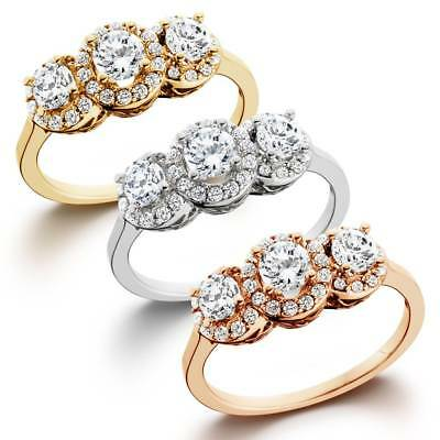 1.00Ct Diamond 3 Stone Antique Halo Engagement Ring In White Yellow Or Rose Gold