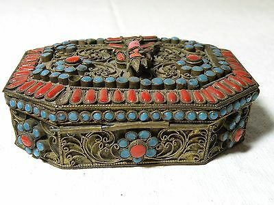 (L)Azz117 Antique Tibet Nepal Coral And Turquoise Gau Prayer Box, Red Tara