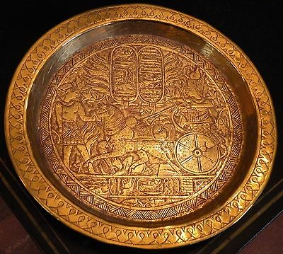 ss109 ANCIENT EGYPT REPRODUCTION HEAVY BRASS HAND CHASED PLATE, PHAROAH CHARIOT