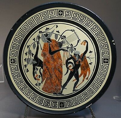 #sh16 ANCIENT GREEK REPRODUCTION POTTERY PLATE: Dionysus with lyre and Satyrs