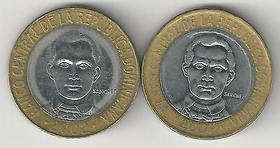 2 BI-METAL 5 PESO COINS from the DOMINICAN REPUBLIC DATING 2002 & 2007