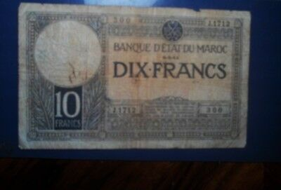 Morocco ( France ) 1941 10 Francs Banknote Well Circulated